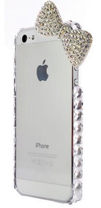 Silver White Rhinestone Bow Phone Case Cover - Sold Out