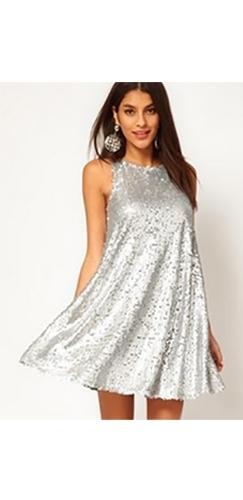 It's Party Time Silver Sequin Sleeveless Scoop Neck A Line Flare Mini Dress - Sold Out