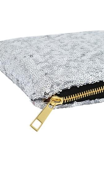 Glam Squad Silver Sequin Zipper Clutch Bag - Sold Out