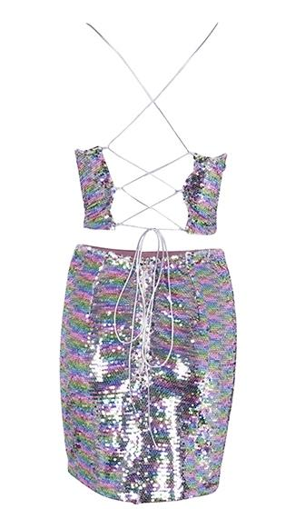 Glitter Goddess Silver Sequin Sleeveless Spaghetti Strap Scoop Neck Lace Up Crop Top Bodycon Two Piece Mini Dress - Sold Out!
