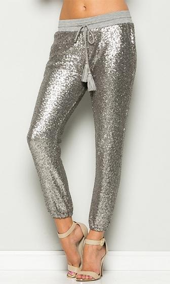 Glam Rock Silver Sequin Drawstring Tassel Waist Jogger Pant (Pre-Order) - Sold Out