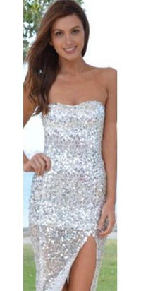 Perfect Night Silver Sequin Strapless Thigh Slit Maxi Dress - Sold Out