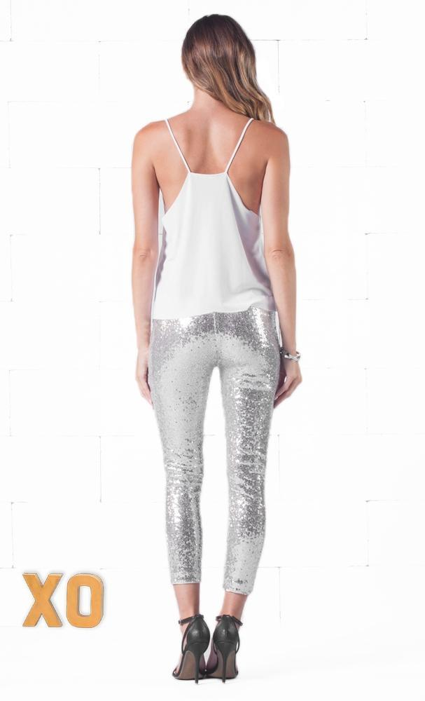 Indie XO Silver Sequin Sequins Sequined Stretch Elastic Waist Cropped Leggings Pants - Just Ours - Sold out