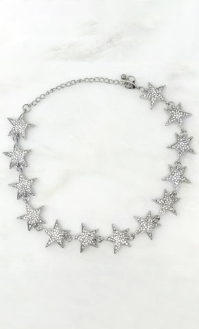 The A List 11 Row Sparkling Crystal Rhinestone Silver Lobster Clasp Choker Necklace