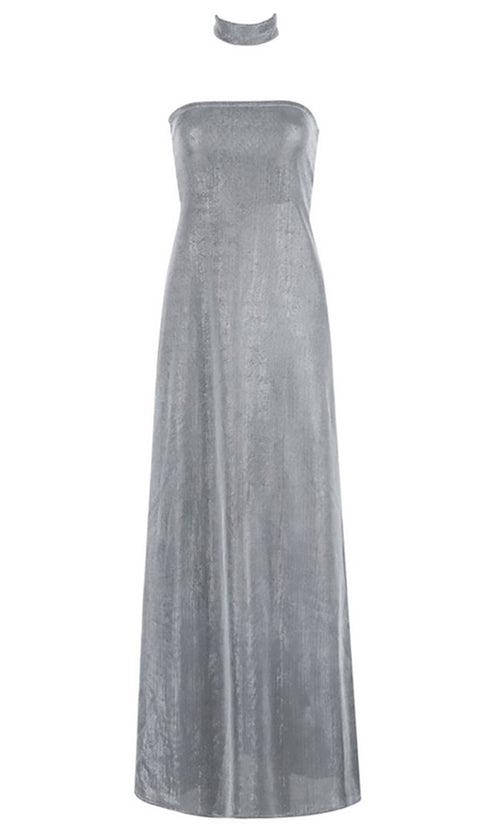 Studio City Silver Grey Metallic Strapless Lace Up Back Maxi Dress
