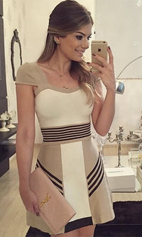 Girl Next Door Beige White Black Cap Sleeve V Neck Colorblock Stripe Skater Circle A Line Flare Mini Dress