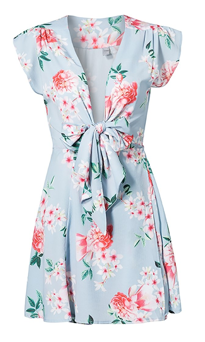 Floral Bouquet Sky Blue Flower Print Cap Sleeve V Neck Tie Front Mini Dress