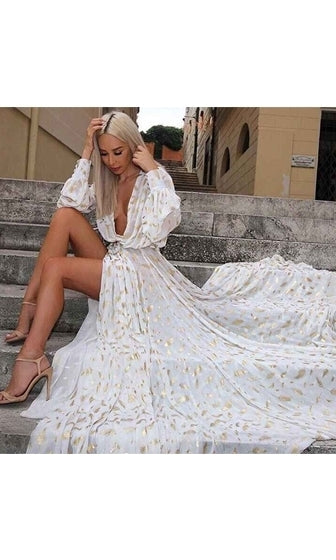 Fairytale Fantasy White Gold Feather Long Sleeve Plunge V Neck High Slit Maxi Dress - Sold Out
