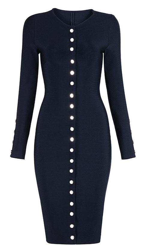 Perfect Date Long Sleeve Crew Neck Snap Button Bodycon Bandage Midi Dress - 2 Colors Available