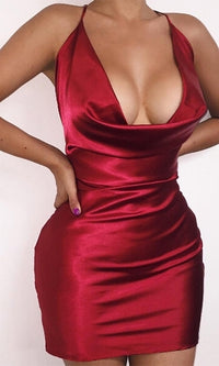 Shine On Satin Spaghetti Strap Drape Neck X Back Bodycon Mini Dress - Last One! - Sold Out