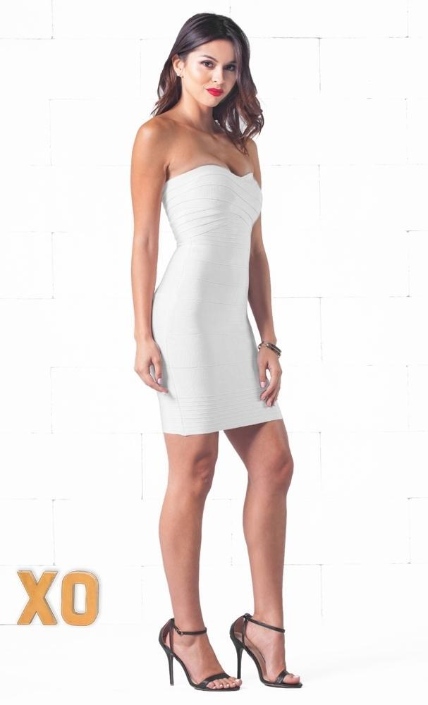 Indie XO After Hours White Sweetheart Neck Bandage Style Strapless Body Con Fitted Mini Dress - Just Ours! - Sold Out