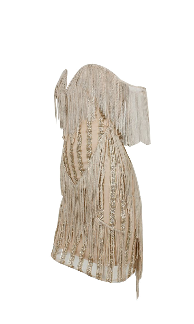 I'm So Ready Strapless Fringe Off The Shoulder Sweetheart Glitter Mini Dress - 3 Colors Available