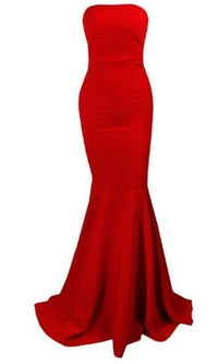 Red Strapless Zip Back Mermaid Maxi Dress Gown - Sold Out