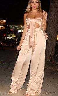 In The Lead Nude Strapless Tie Front High Waist Palazzo Pant Two Piece Set - Sold Out