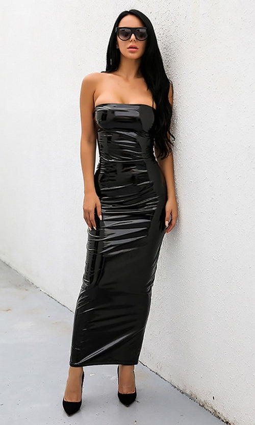 Dominate The Night PU Faux Leather Strapless Maxi Dress - 2 Colors Available