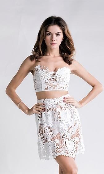 Hit The Scene White Sheer Lace Strapless Crop Scallop Circle A Line Flare Two Piece Mini Dress - Last One! - Sold Out