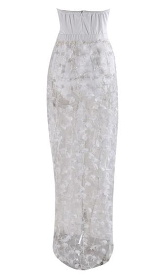 Happily Ever After White Strapless Sheer Floral Lace Bustier Maxi Dress