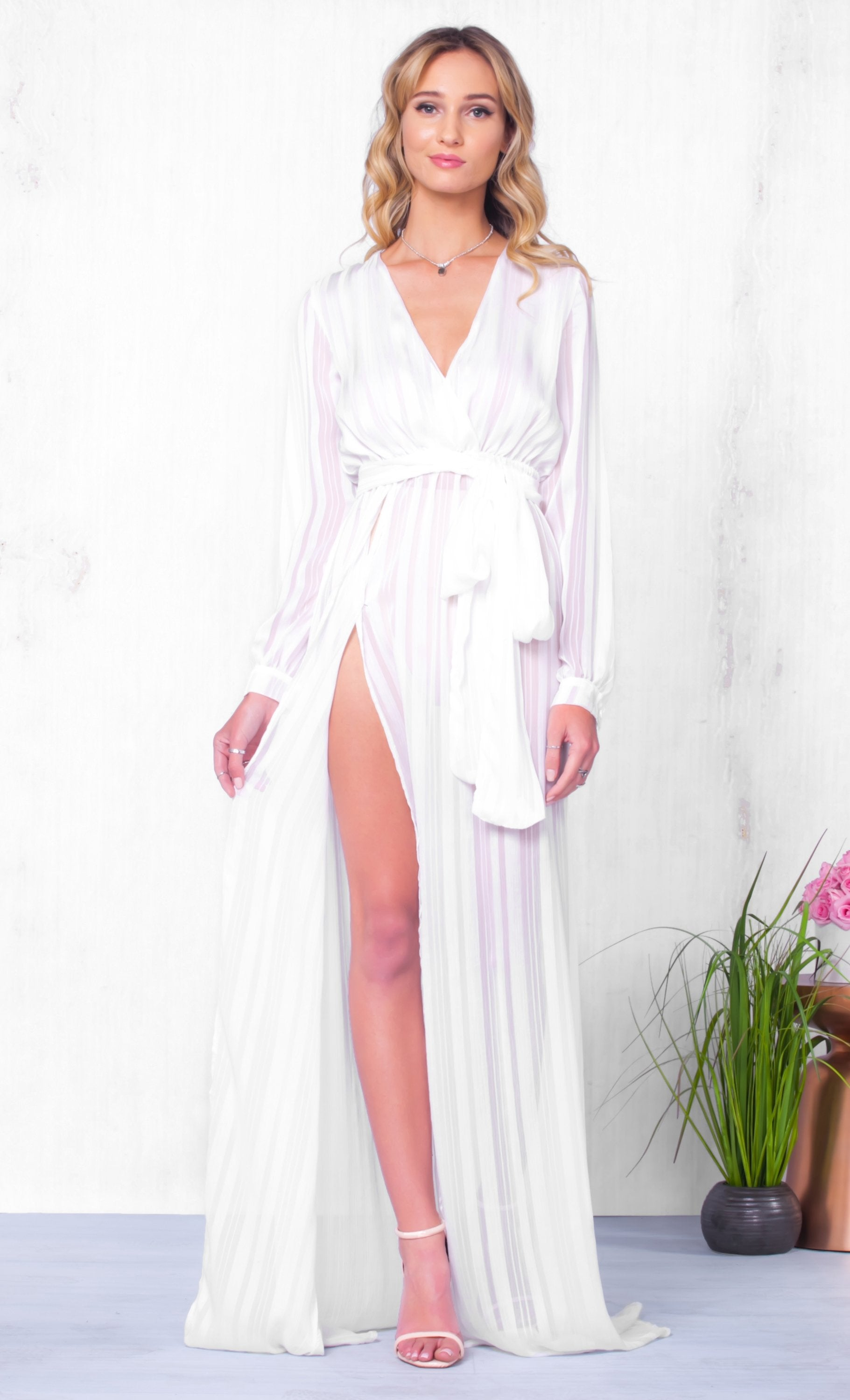 Indie XO Dream On White Loose Long Sleeve Cross Wrap V Neck Tie Waist High Slit Maxi Dress - Just Ours!
