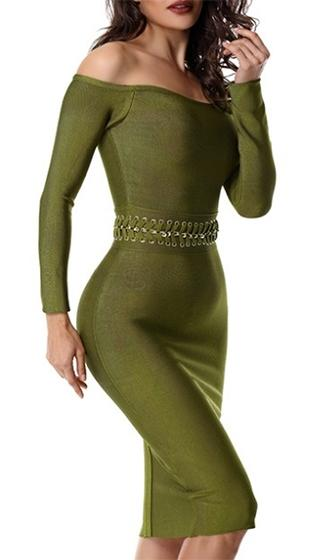 Stop and Stare Olive Green Long Sleeve Cut Out Laced Waist Bodycon Bandage Mini Dress