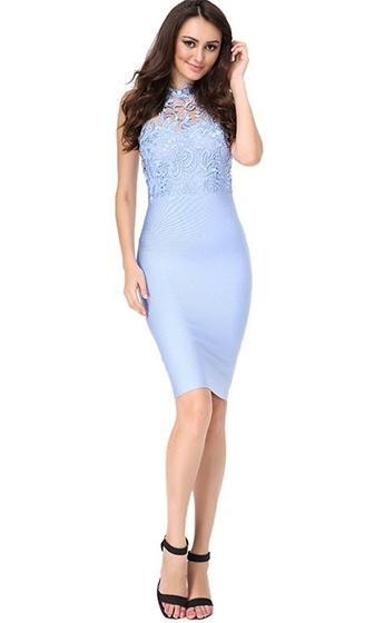 Love Me Tender Light Blue Sleeveless Lace Mock Neck Bodycon Bandage Midi Dress - Sold Out