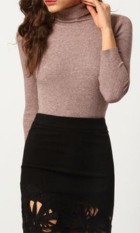 Ready To Roll Taupe Light Brown Long Sleeve Turtleneck Rib Knit Pullover Sweater - Sold Out