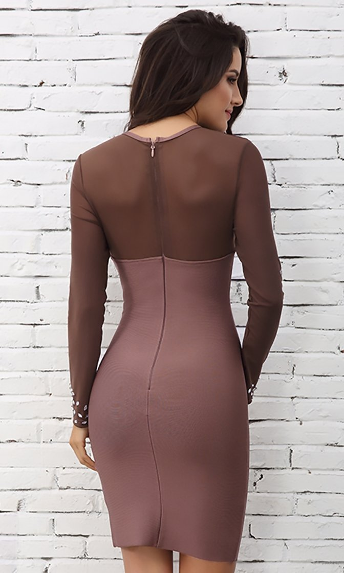 Baring It All Taupe Sheer Mesh Crystal Rhinestone Long Sleeve Crew Neck Bodycon Mini Dress