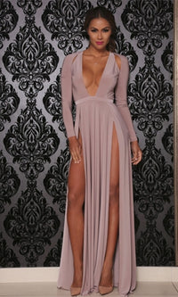 Zahia Taupe Long Sleeve Cut Out Shoulder Plunge V Neck Double Slit Maxi Dress - Sold Out