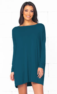 Piko 1988 Teal Blue Green Long Sleeve Scoop Neck Piko Bamboo Oversized Basic Tunic Tee Shirt Mini Dress