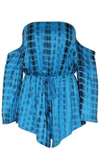 Friday In Montauk Blue Tie Dye 3/4 Sleeve Off The Shoulder Romper Playsuit - Sold Out