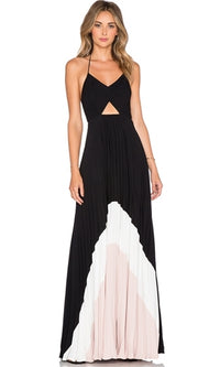 Positano Coast Black White Pink Spaghetti Strap V Neck Cut Out Backless Halter Tie Dye Maxi Dress - Sold Out
