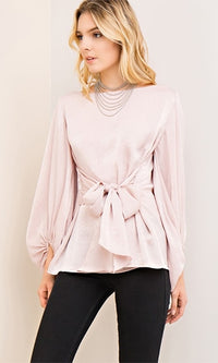 See You Never Long Sleeve Boat Neck Tie Waist Blouse - 3 Colors Available (Pre-Order) - Sold Out