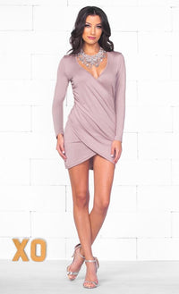 Indie XO Cherished Moments Taupe Long Sleeve Cross Wrap Plunge V Neck Ruched Tulip Hem Bodycon Mini Dress - Just Ours! - SOLD OUT