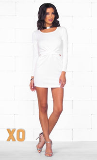 Indie XO Mysterious Femme White Long Sleeve Cut Out Side Wrap Twist Front Bodycon Mini Dress - Just Ours! - Sold Out