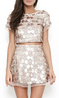 Electric Youth Sequin Short Sleeve Crop Two Piece Mini Dress - 2 Colors Available - Sold Out