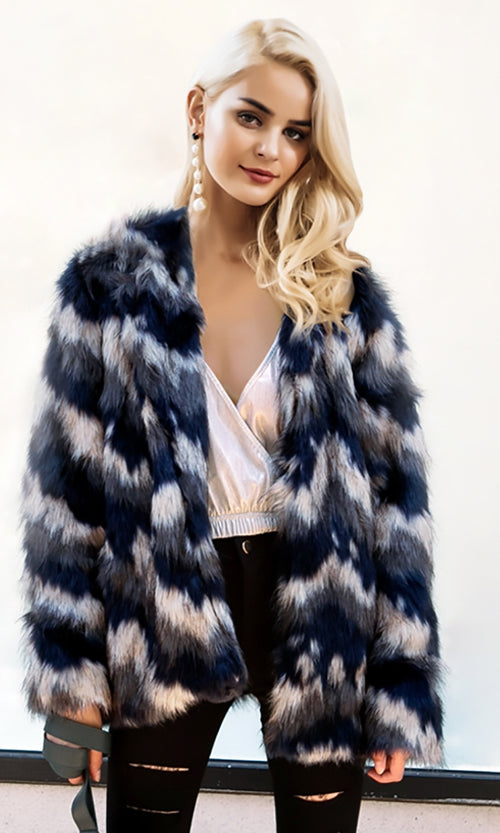 Hot And Cold Two Tone Faux Fur Long Sleeve Round Neck Coat