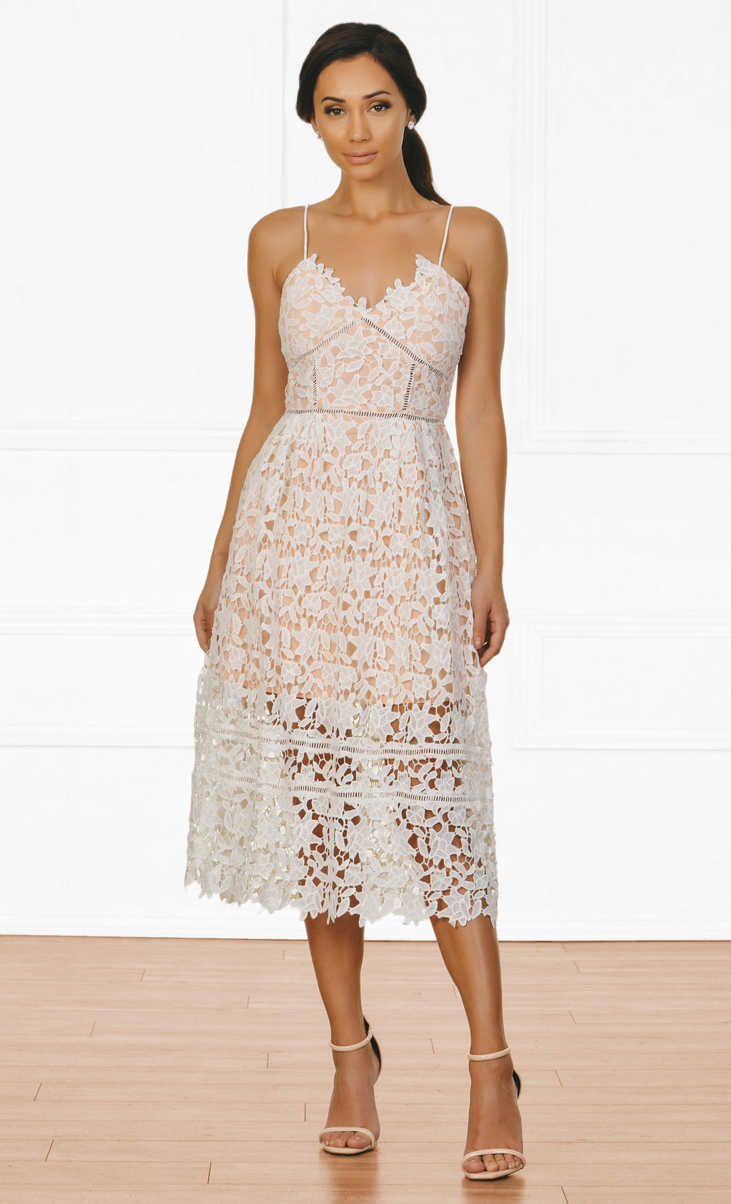 Indie XO Sweet Tea White Cut Out Guipure Lace Sleeveless Spaghetti Strap V Neck Midi Dress