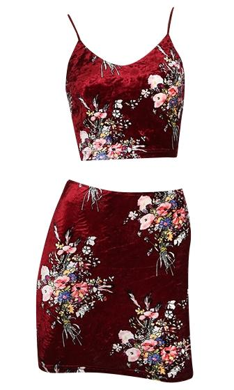 Double Happiness Velvet Floral Sleeveless Spaghetti Strap V Neck Crop Top Two Piece Bodycon Mini Dress - 2 Colors Available