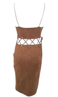 Strung Out Brown Velvet Faux Suede Cut Out Grommet Lace Up Spaghetti Strap Plunge V Neck Bodycon Mini Dress - Sold Out