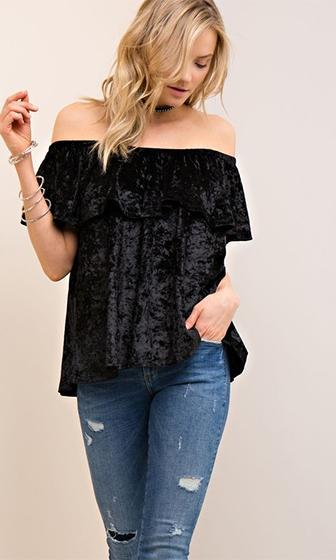 Loving The Night Velvet Short Sleeve Off The Shoulder Top - 3 Colors Available - Sold Out