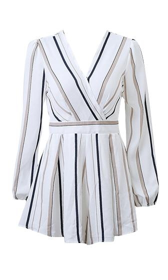 Hit The Spot White Vertical Stripe Long Sleeve Cross Wrap V Neck Tie Waist Romper Playsuit - Sold Out