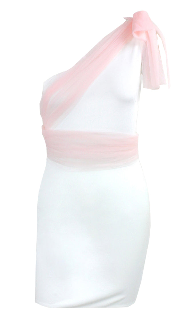 My Way Or No Way Sleeveless One Shoulder Bow Drape Bodycon Mini Dress - 2 Colors Available