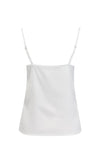 Summer Nights White Satin Sleeveless Spaghetti Strap Draped V Neck Camisole Basic Tank Top Blouse