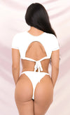 It's My Time White Two Piece Bandage Short Sleeve Crop Top Cut Out Tie Thong Bikini Swimsuit