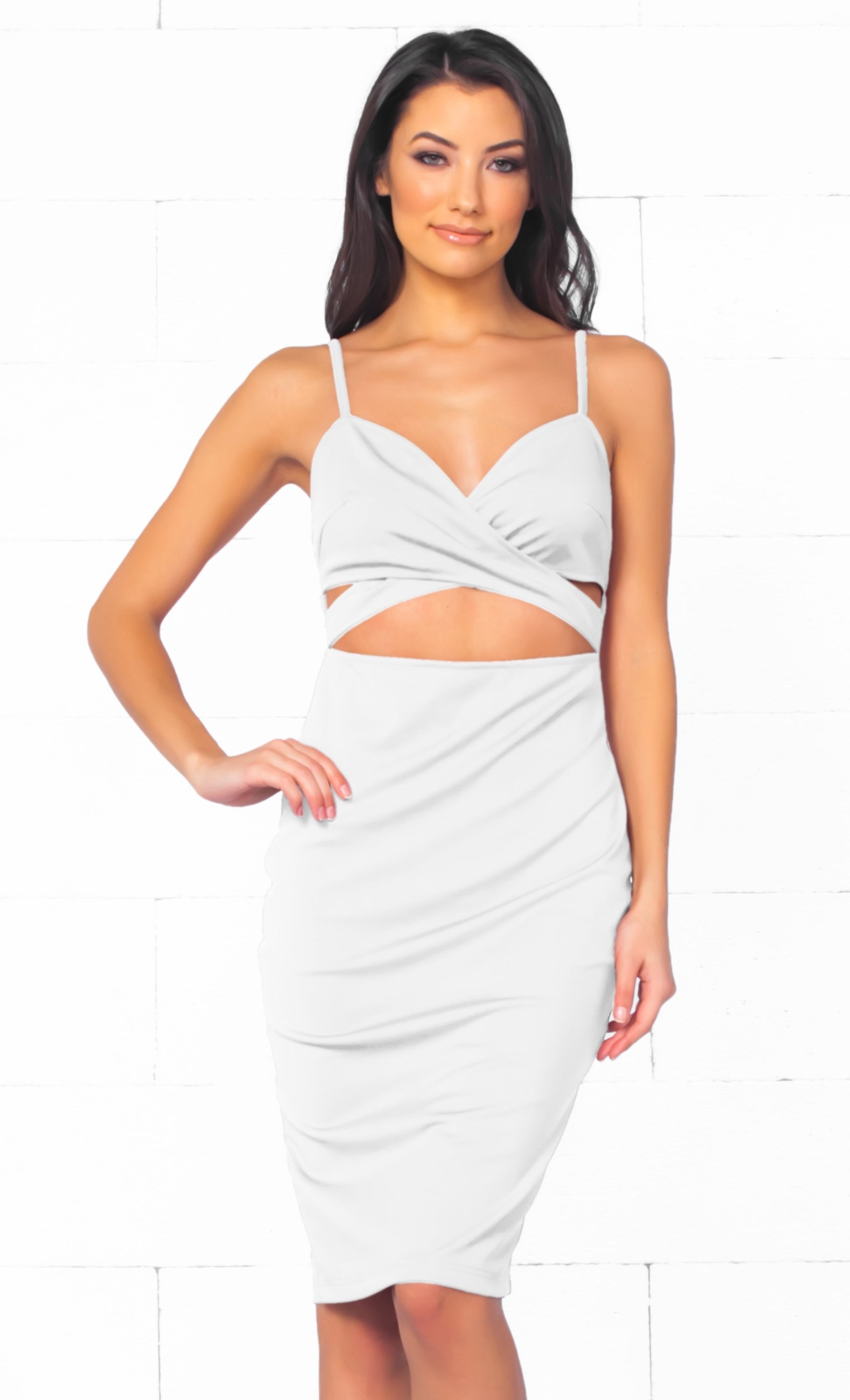 Indie XO Total Bombshell White Spaghetti Strap V Neck Cut Out Bodycon Midi Dress - Just Ours! - Sold Out