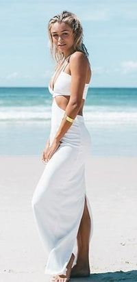 Taylor White Spaghetti Strap Halter Cut Out Plunge V Neck Back Slit Maxi Dress - Sold Out
