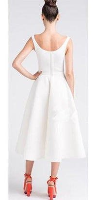 White Sleeveless Scoop Neck Front Pockets A Line Flare Midi Dress - Sold Out