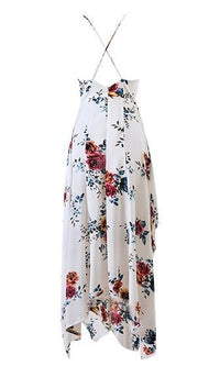 Heaven and Earth White Red Blue Orange Floral Spaghetti Strap V Neck Side Slit Ruffle Asymmetric Maxi Dress - Sold Out
