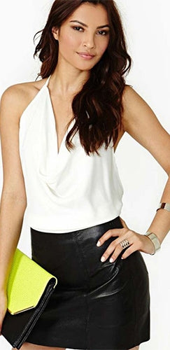 I Warned You White Sleeveless Drape V Neck Backless Halter Tank Top - Sold Out