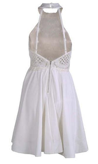 Join Me White Sleeveless Lace Halter Cut Out Backless Skater Circle A Line Flare Mini Dress - Sold Out