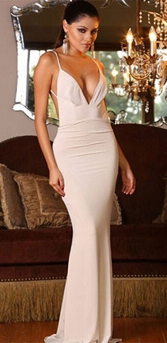 White Spaghetti Strap Plunge V Neck Backless Twist Ruched Bodycon Maxi  Dress Gown - Sold Out d5453a120